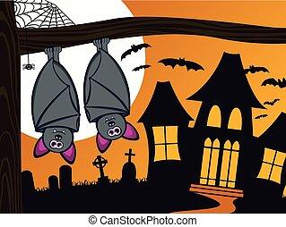 gespenstisch, halloween, fledermäuse
