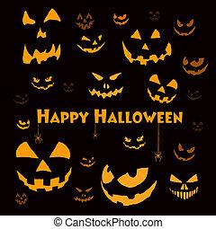 gespenstisch, halloween, gesichter, auf, schwarz