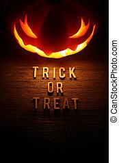 gespenstisch, -, halloween, o, trick, behandeln, hintergrund...