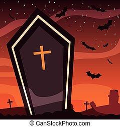 gespenstisch, halloween szene, sarg