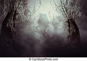 gespenstisch, hexenhäuser, in, nebel