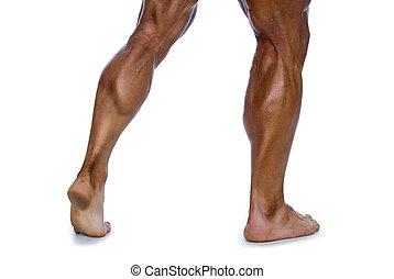 gespierd, benen, man