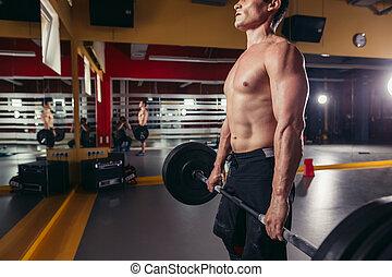 gespierd, fitness, man, doen, zware, deadlift, oefening
