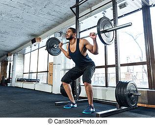 gespierd, fitness, man, doen, zware, oefening