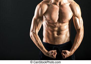 gespierd, man, torso, jonge, sterke, sexy