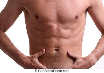 gespierd, mannelijke , passen, torso