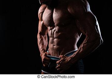 gespierd, man's, zwarte achtergrond, torso, backlight