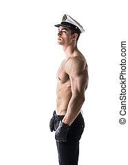 gespierd, shirtless, mannelijke , zeeman, met, nautisch, hoedje