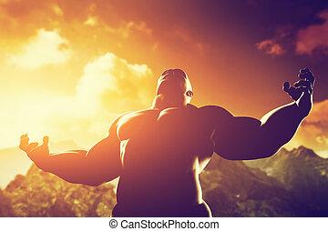 gespierd, sterke man, met, held, atletisch, lichaam, vorm,...