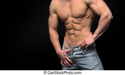 gespierd, torso, mannelijke , achtergrond, vrijstaand, black