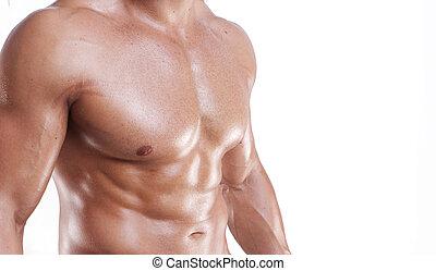 gespierd, torso, wit mannelijk, vrijstaand
