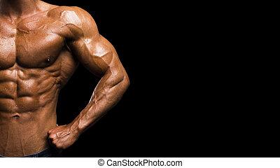 gespierd, vorm, zwarte achtergrond, mannelijke , torso