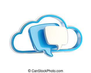 gesprek, aandeel, wolk, praatje, pictogram