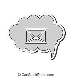 gesprek, binnen, enveloppe, wolk, pictogram