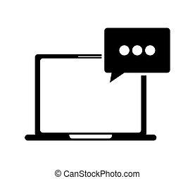 gesprek, computer, bel, pictogram