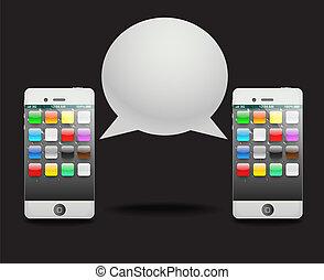 gesprek, moderne, toespraak, phone?, cloud.