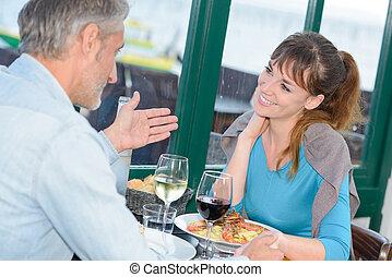 gesprek, restaurant
