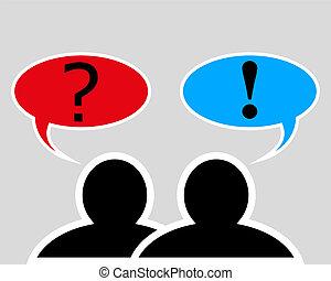 gesprek, tussen, twee mensen