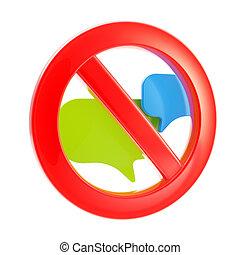gesprek, verboden, praatje, meldingsbord