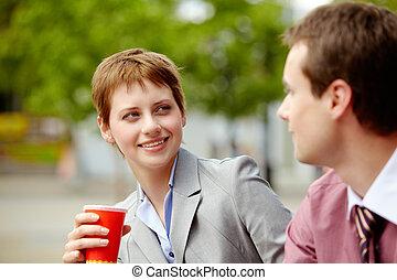 gesprek, vriendelijk