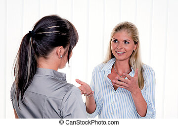 gesprek, vrouwen, kantoor, arbitsplatz