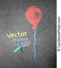 gesso, balloon., disegno, rosso