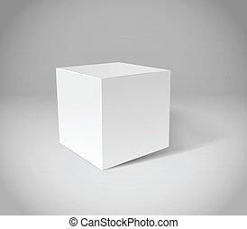 gesso, cubo, cena, branca, cinzento