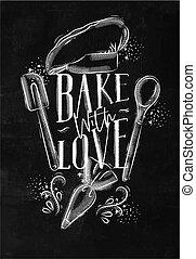 gesso, manifesto, cuocere, amore