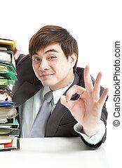 gest, affärsman, ok, smart, kontor