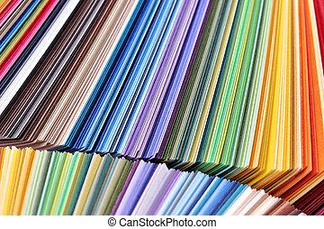 gestapelt, bunte, papier, -, farbe probiert