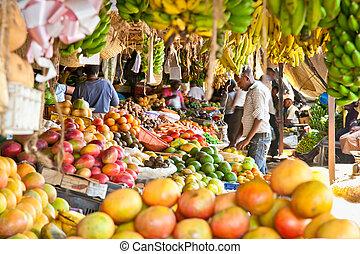 gestapelt, reif, nairobi., früchte, örtlicher markt