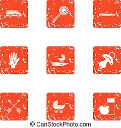 Gestation icons set. Grunge set of 9 gestation vector icons for web isolated on white background
