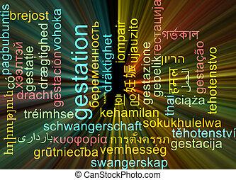 Gestation multilanguage wordcloud background concept glowing...