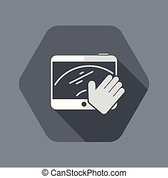 geste, écran, propre, main