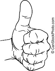 geste, dehors, main, pouces, doigts, pouce, poing, haut