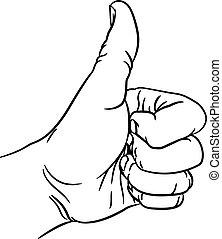 geste, distribuer, pouce haut, pouces, poing, doigts
