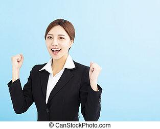 geste, gagnant, femme, affaires asiatiques