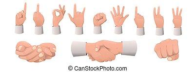 geste, gestes, set., dessin animé, main, divers