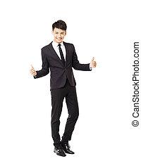 geste, homme, heureux, business, réussi, jeune