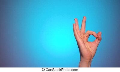 geste, main, homme, approbation, ok., exposition