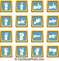 geste main, icônes, azur