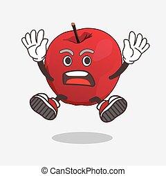 geste, pomme, mascotte, caractère, choquant, dessin animé