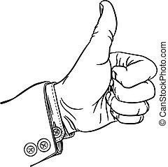 geste, pouces, poing, main, feuilletez dehors, doigts, haut