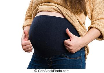geste, pregnant, ventre, gros plan, pouces-vers haut