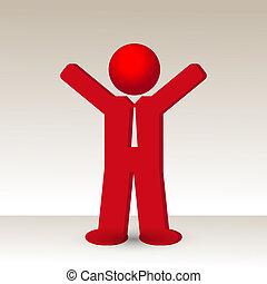 geste, reussite, augmentations, homme affaires, bras, poing, haut, sien