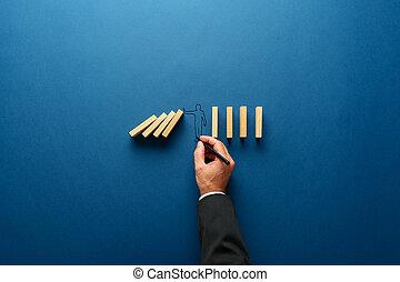 geste, silhouette, tomber, arrêt, confection, homme, dominos