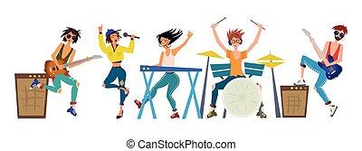 gestein, band., männer frauen, spielen, musikalisches,...
