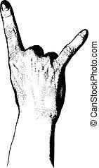 gestein, hand