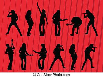 gestein, musiker, silhouetten, abbildung, sammlung, hintergrund