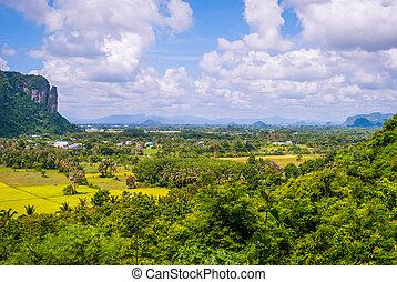 gestein, thailand, phatthalung, ungefähr, ansicht